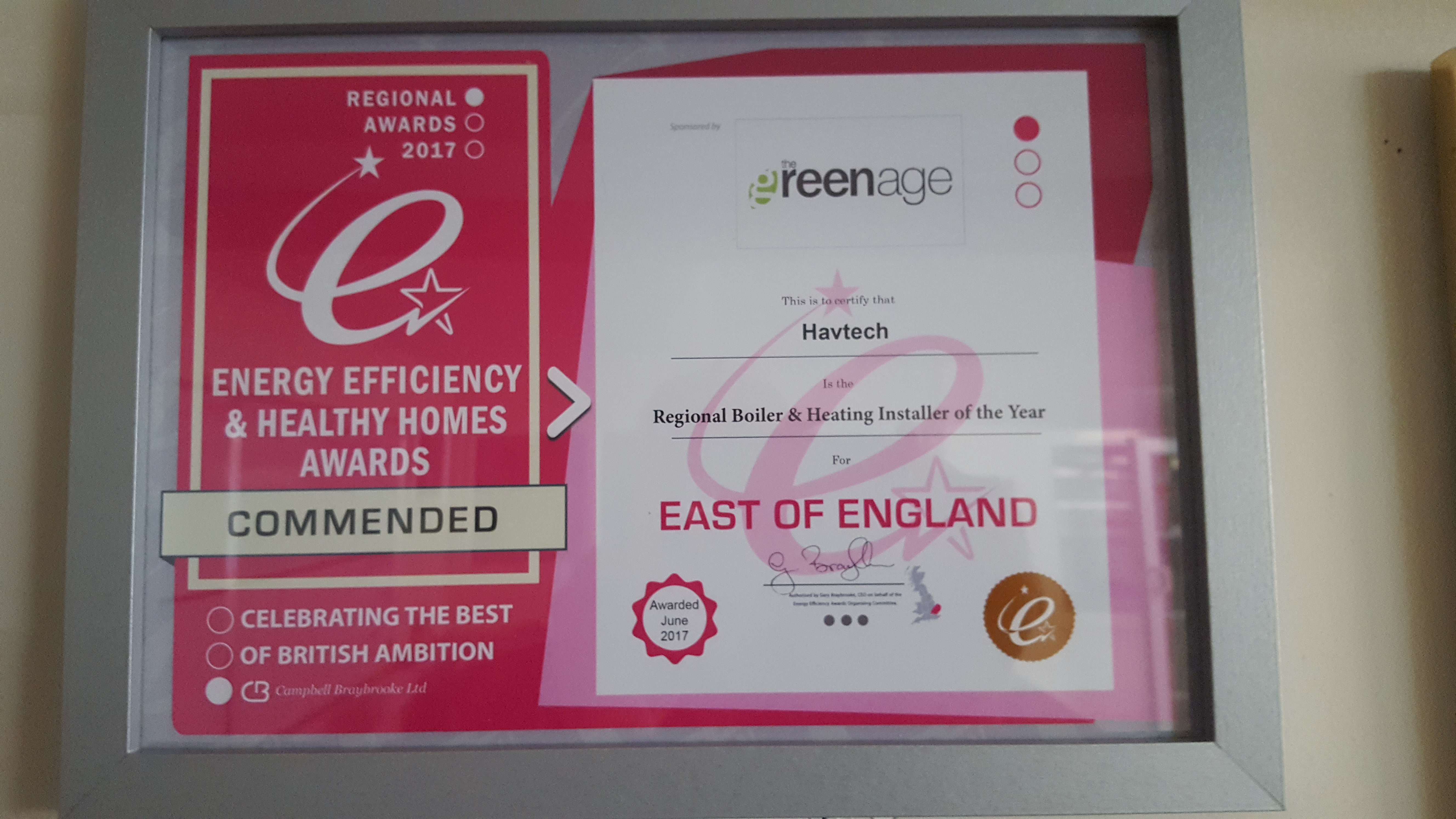 Havtech Regional Boiler & Heating Installer of the Year certificate